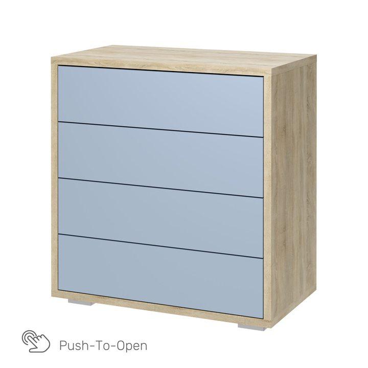 Валске Комод с 4 ящиками, SOFT TOUCH голубой