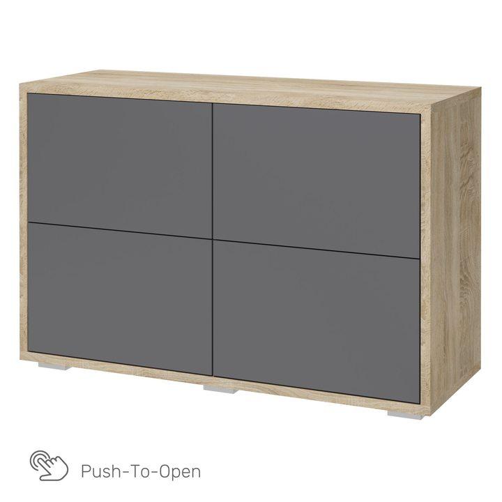Ашо Комод с 4 ящиками 1,2 м, SOFT TOUCH серый