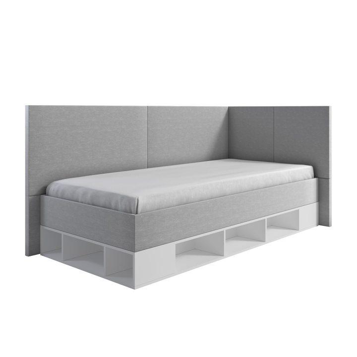 Норвак Кровать со спальным местом 2 х 0,9, с подъемным механизмом, ткань серый