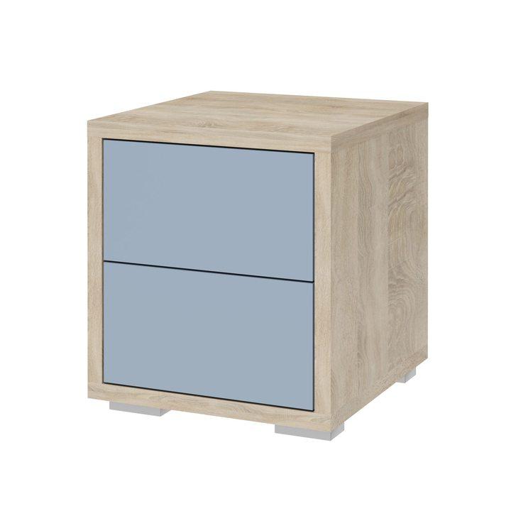 Валске Прикроватная тумба с 2 ящиками, SOFT TOUCH голубой