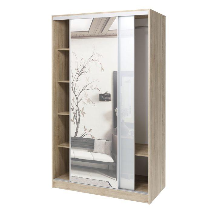 Валске Шкаф купе ширина 1,2 метра, корпус дуб сонома, фасад белое стекло, зеркало