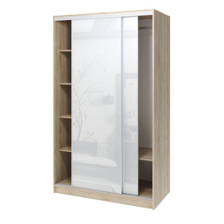 Валске Шкаф купе ширина 1,2 метра, корпус дуб сонома, фасад белое стекло