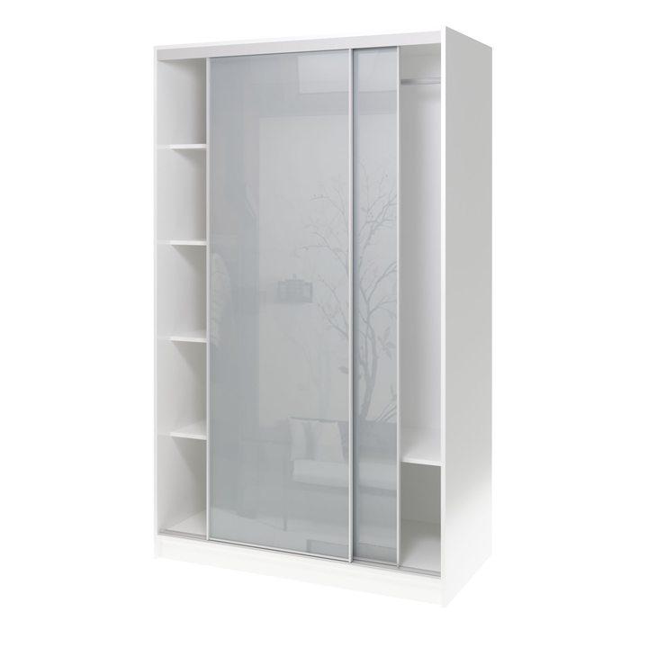 Валске Шкаф купе ширина 1,2 метра, корпус белый, фасад серое стекло