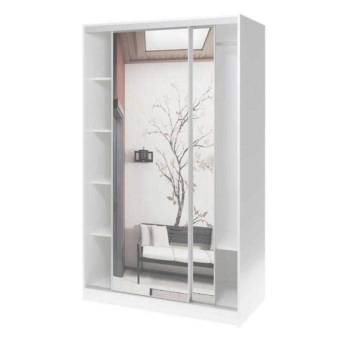 Валске Шкаф купе ширина 1,2 метра, корпус белый, фасад зеркало