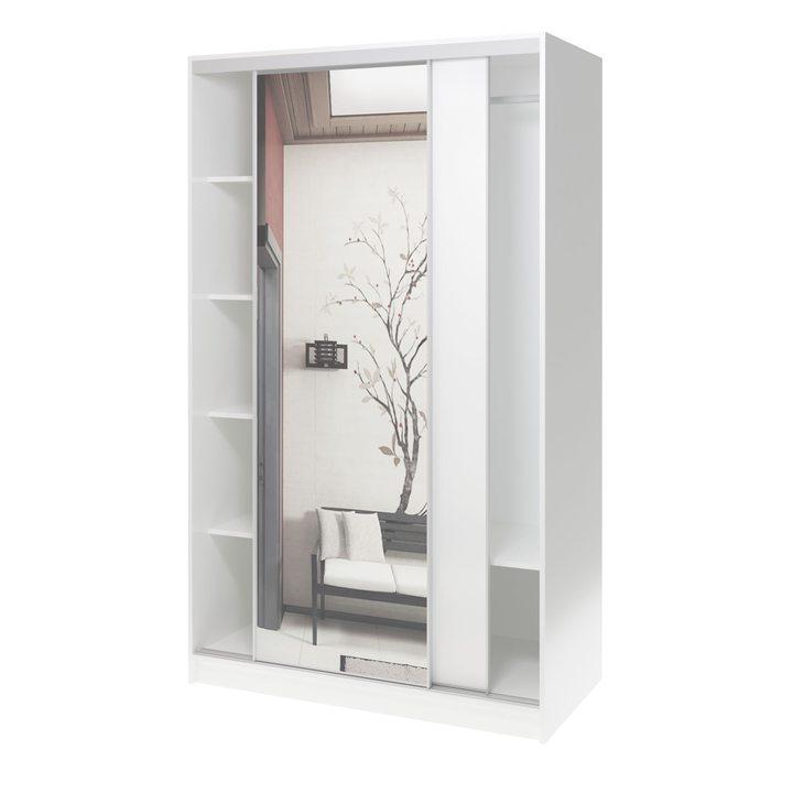 Валске Шкаф купе ширина 1,2 метра, корпус белый, фасад белый, зеркало