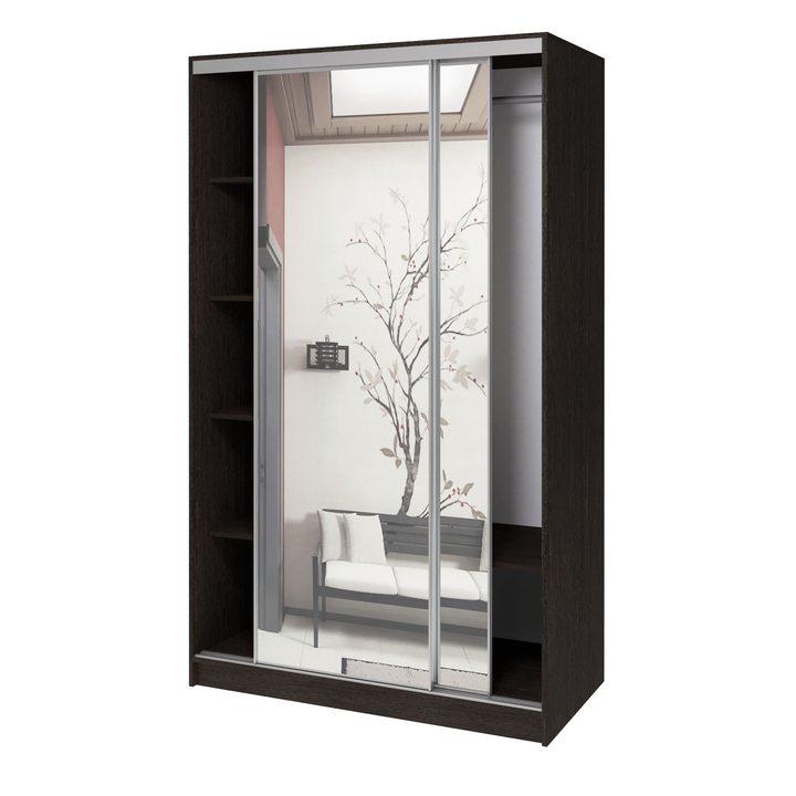 Валске Шкаф купе ширина 1,2 метра, корпус венге, фасад зеркало