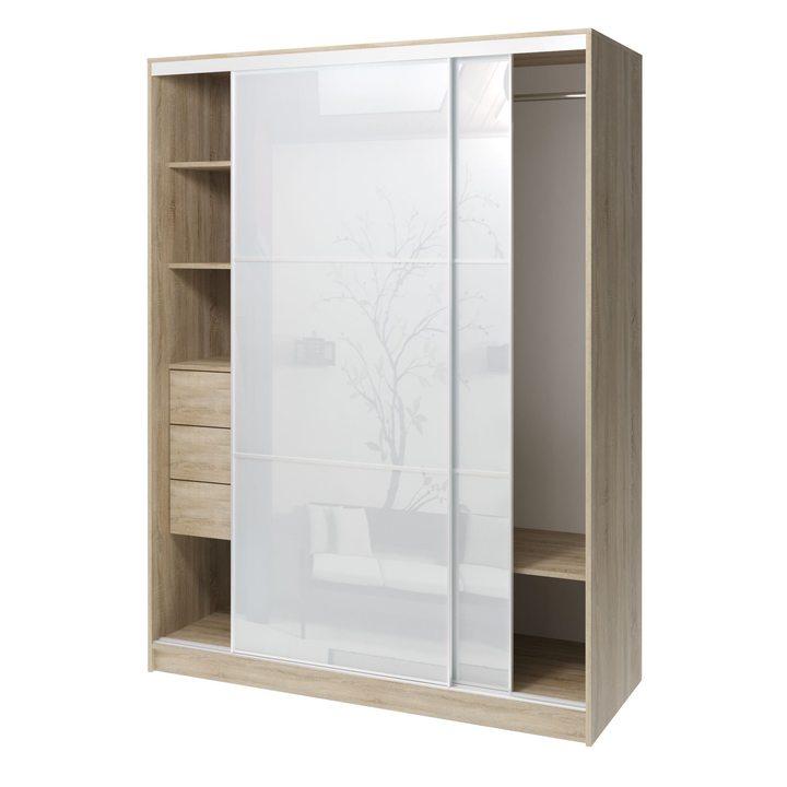 Валске Шкаф купе ширина 1,5 метра, корпус дуб сонома, фасад белое стекло