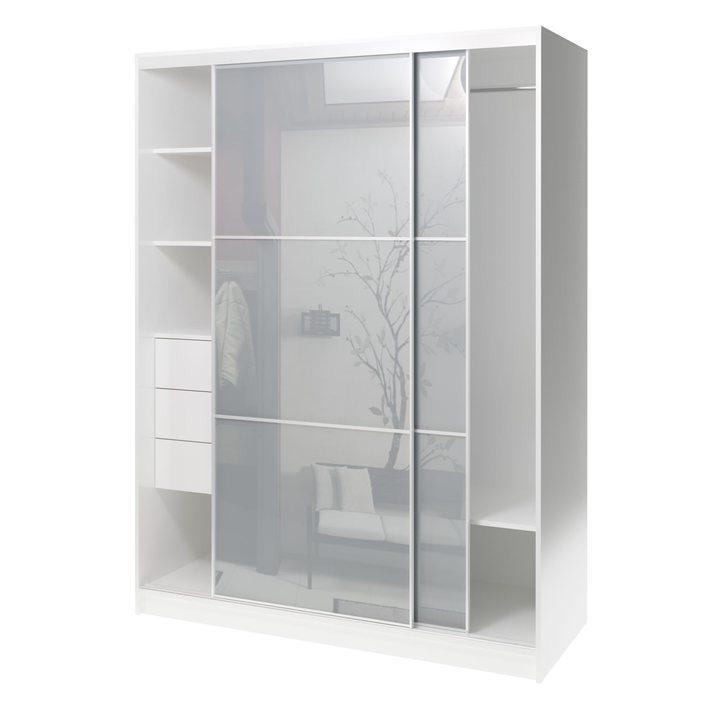 Валске Шкаф купе ширина 1,5 метра, корпус белый, фасад серое стекло