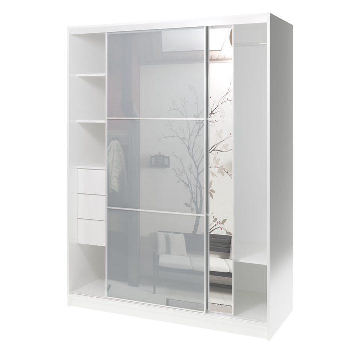 Валске Шкаф купе ширина 1,5 метра, корпус белый, фасад серое стекло, зеркало