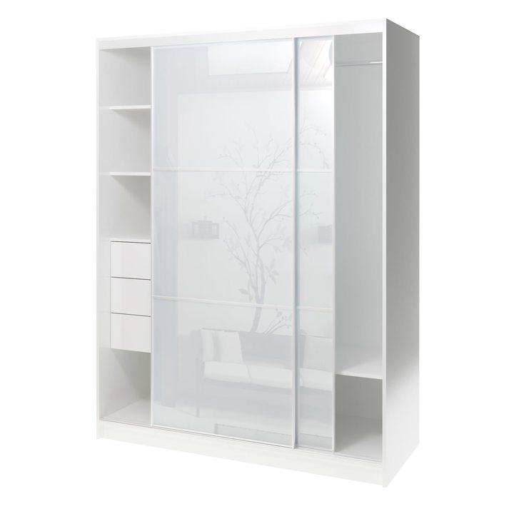 Валске Шкаф купе ширина 1,5 метра, корпус белый, фасад белое стекло