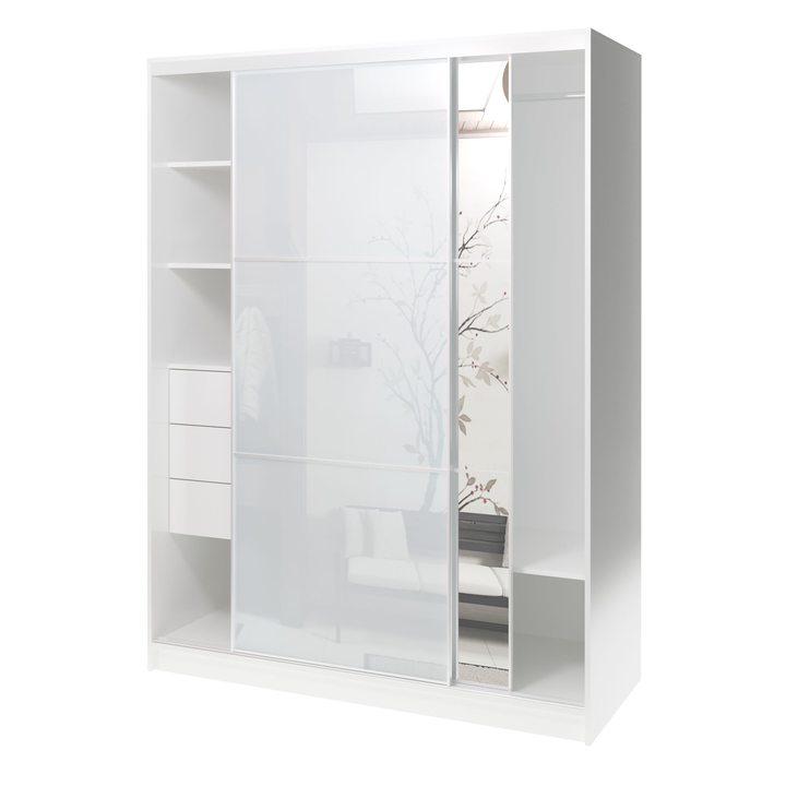 Валске Шкаф купе ширина 1,5 метра, корпус белый, фасад белое стекло, зеркало