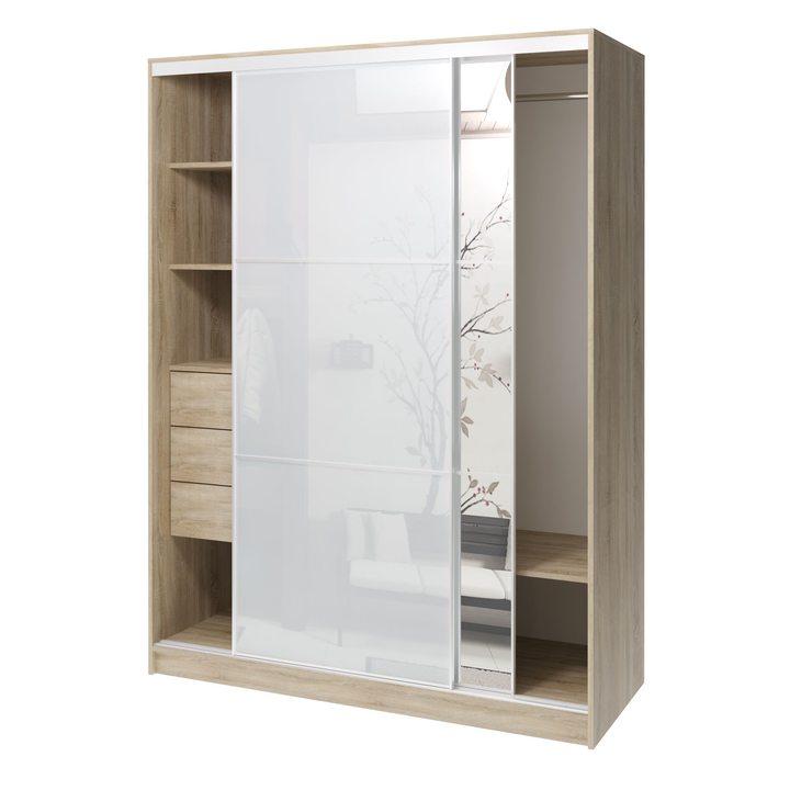 Валске Шкаф купе ширина 1,5 метра, корпус дуб сонома, фасад белое стекло, зеркало