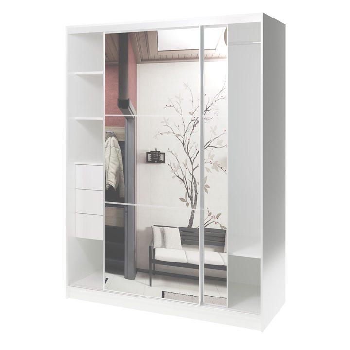 Валске Шкаф купе ширина 1,5 метра, корпус белый, фасад зеркало