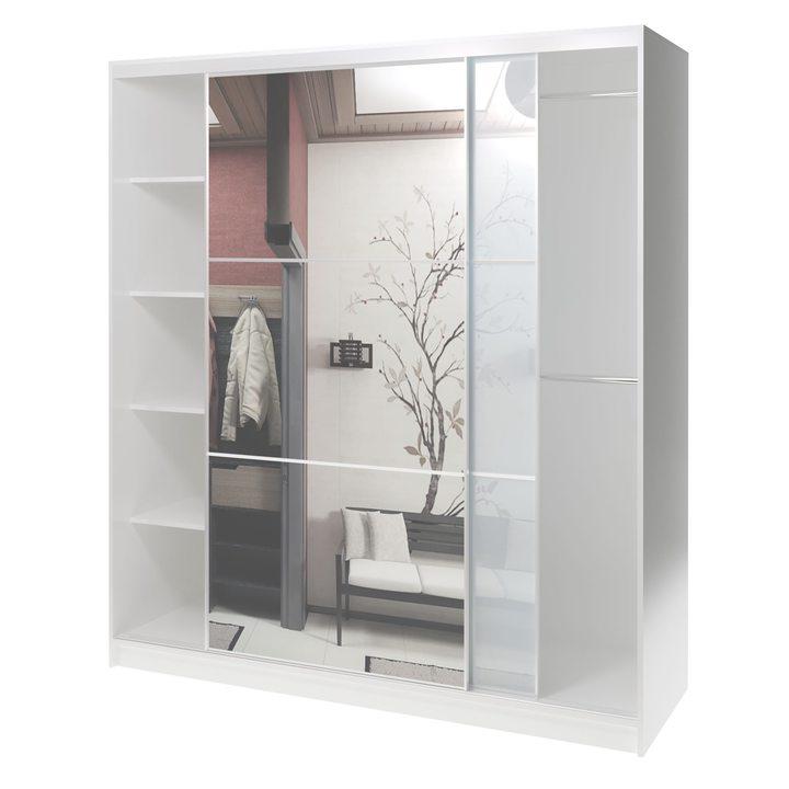 Валске Шкаф купе ширина 1,8 метра, корпус белый, фасад белое стекло, зеркало