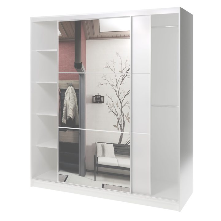 Валске Шкаф купе ширина 1,8 метра, корпус белый, фасад белый, зеркало