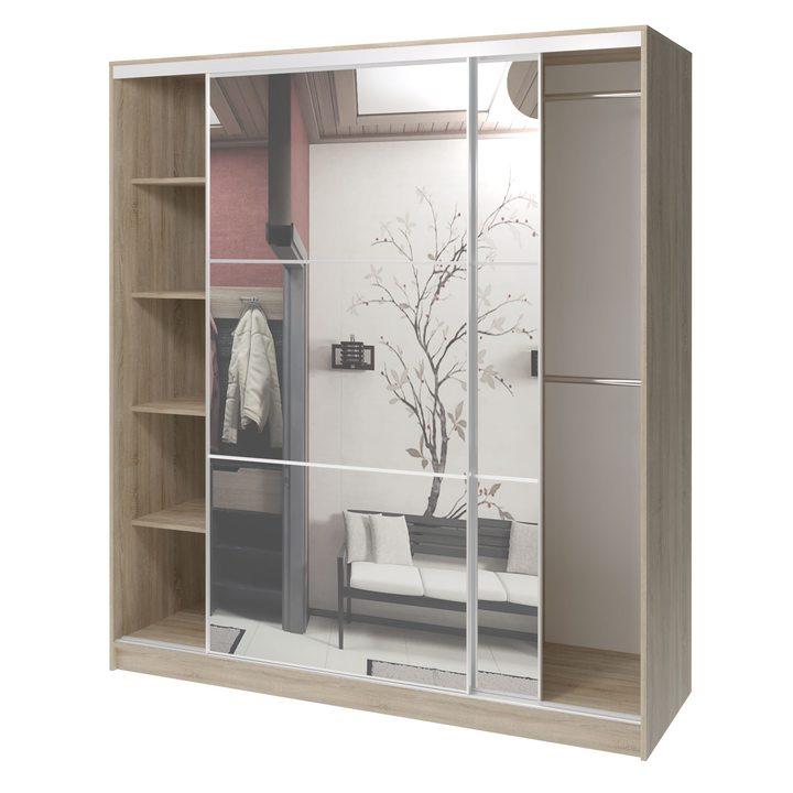 Валске Шкаф купе ширина 1,8 метра, корпус дуб сонома, фасад зеркало