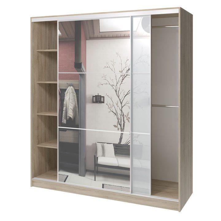 Валске Шкаф купе ширина 1,8 метра, корпус дуб сонома, фасад белое стекло, зеркало