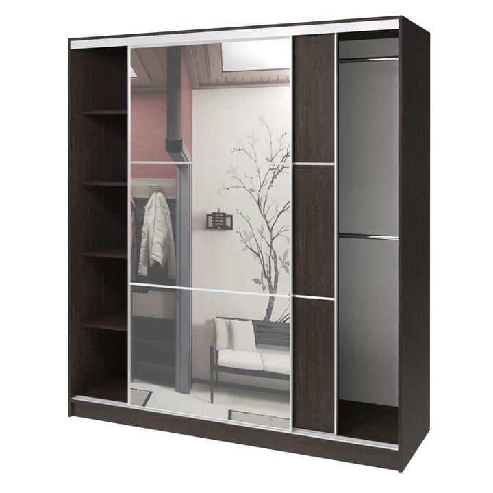 Валске Шкаф купе ширина 1,8 метра, корпус венге, фасад венге, зеркало