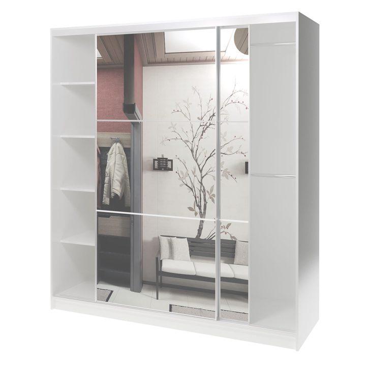 Валске Шкаф купе ширина 1,8 метра, корпус белый, фасад зеркало