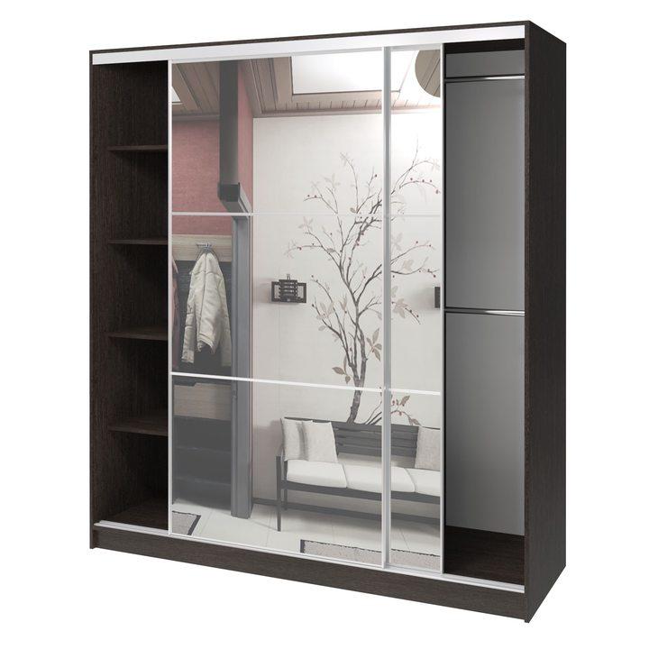 Валске Шкаф купе ширина 1,8 метра, корпус венге, фасад зеркало