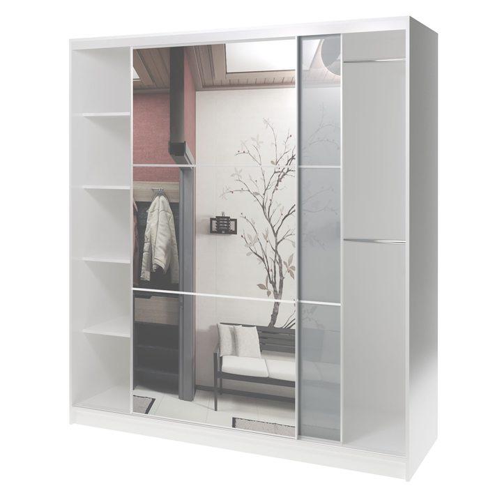 Валске Шкаф купе ширина 1,8 метра, корпус белый, фасад серое стекло, зеркало