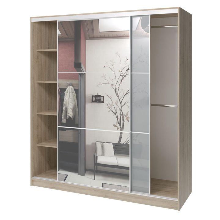 Валске Шкаф купе ширина 1,8 метра, корпус дуб сонома, фасад серое стекло, зеркало