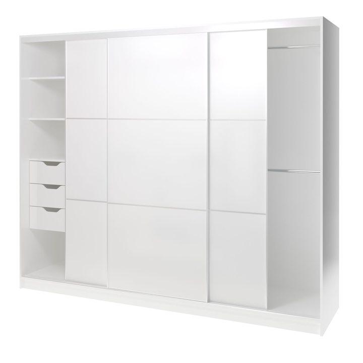 Валске Шкаф купе ширина 2,4 метра, корпус белый, фасад белый