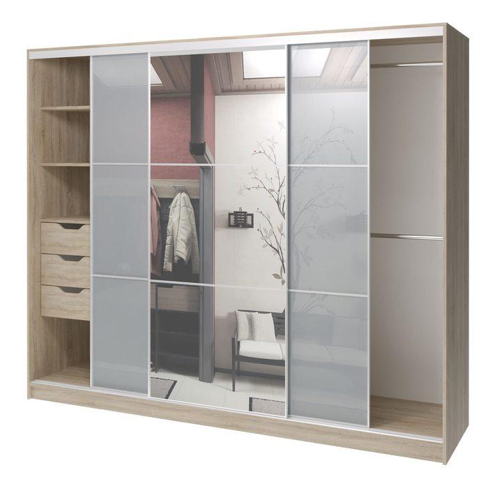 Валске Шкаф купе ширина 2,4 метра, корпус дуб сонома, фасад серое стекло, зеркало