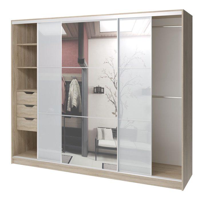Валске Шкаф купе ширина 2,4 метра, корпус дуб сонома, фасад белое стекло, зеркало