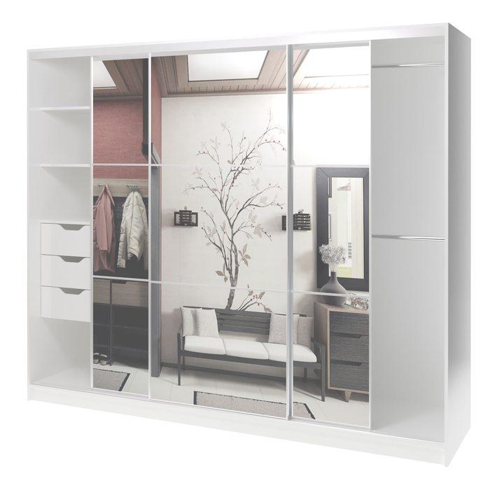 Валске Шкаф купе ширина 2,4 метра, корпус белый, фасад зеркало