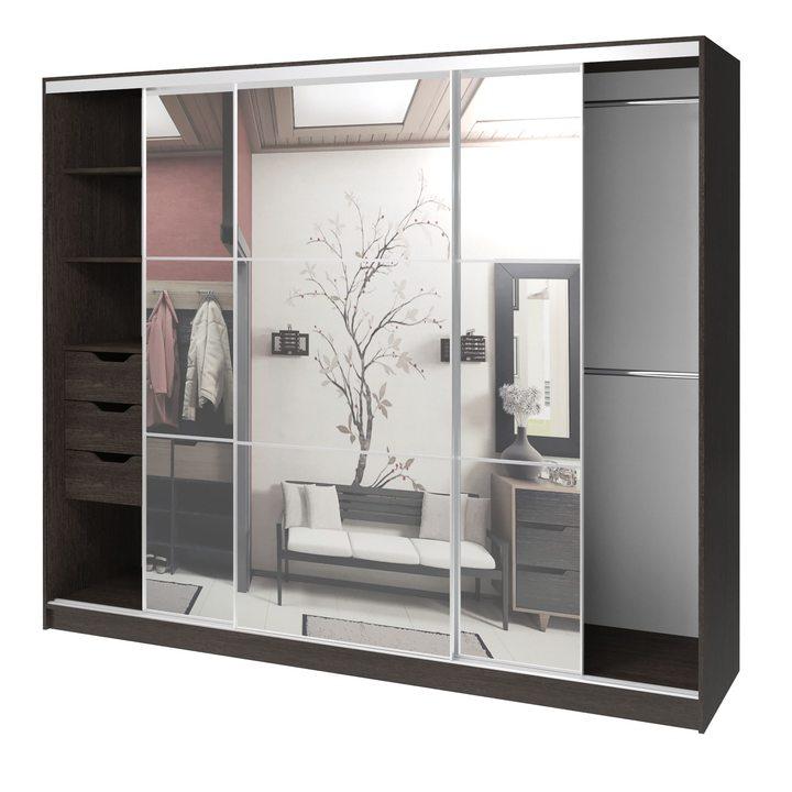 Валске Шкаф купе ширина 2,4 метра, корпус венге, фасад зеркало