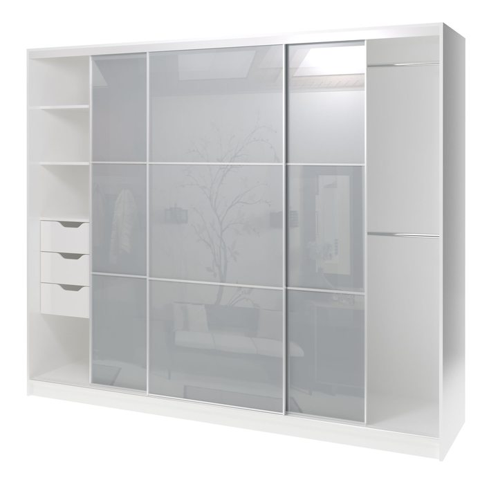 Валске Шкаф купе ширина 2,4 метра, корпус белый, фасад серое стекло