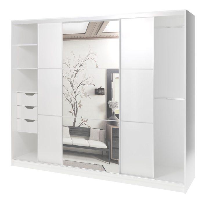 Валске Шкаф купе ширина 2,4 метра, корпус белый, фасад белый, зеркало