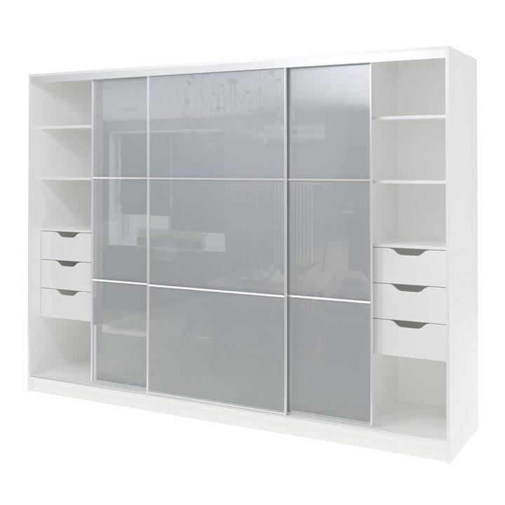 Валске Шкаф купе ширина 2,7 метра, корпус белый, фасад серое стекло