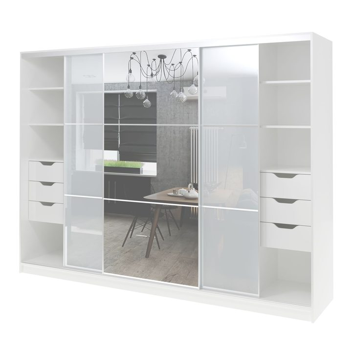 Валске Шкаф купе ширина 2,7 метра, корпус белый, фасад белое стекло, зеркало