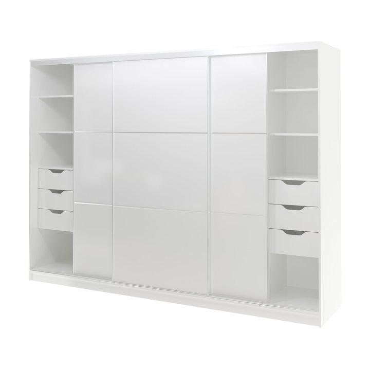 Валске Шкаф купе ширина 2,7 метра, корпус белый, фасад белый
