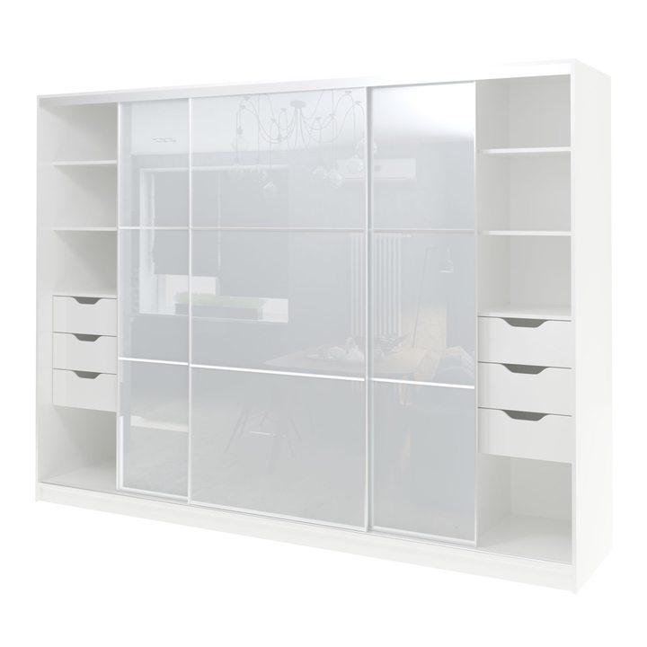 Валске Шкаф купе ширина 2,7 метра, корпус белый, фасад белое стекло
