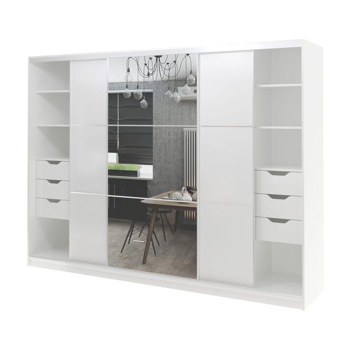 Валске Шкаф купе ширина 2,7 метра, корпус белый, фасад белый, зеркало