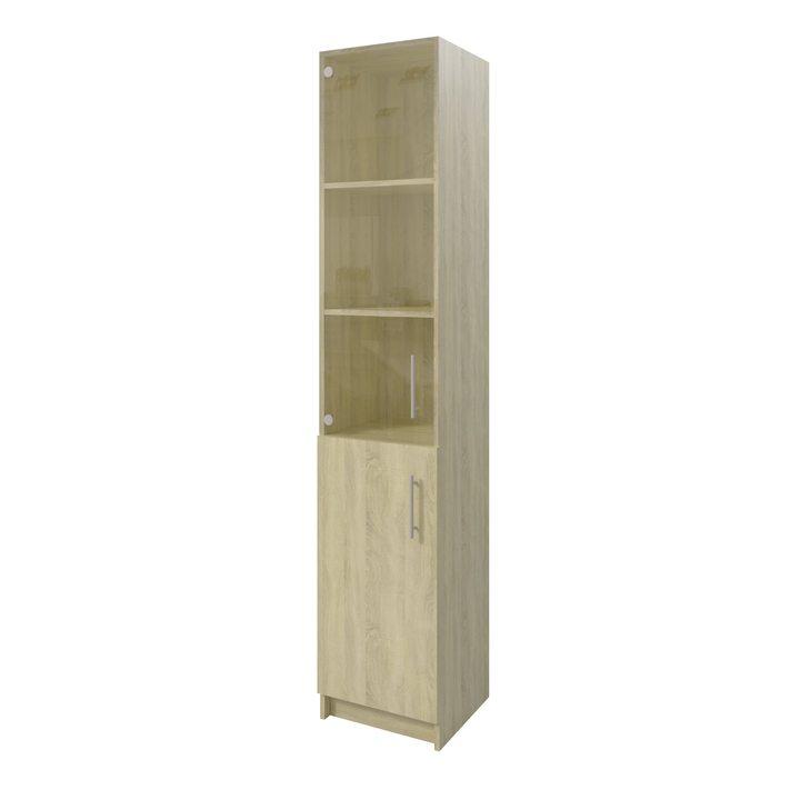 Толга Шкаф распашной комбинация шириной 400мм для хранения с дверками, ЛДСП дуб сонома, стекло