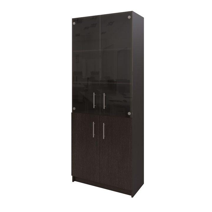 Толга Шкаф распашной комбинация шириной 800мм для хранения с дверками, ЛДСП венге, стекло