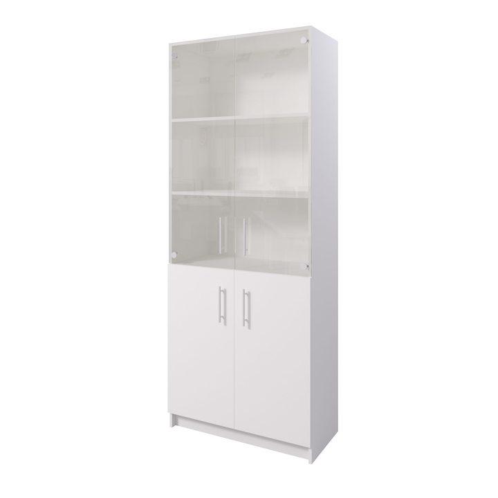 Толга Шкаф распашной комбинация шириной 800мм для хранения с дверками, ЛДСП белый, стекло