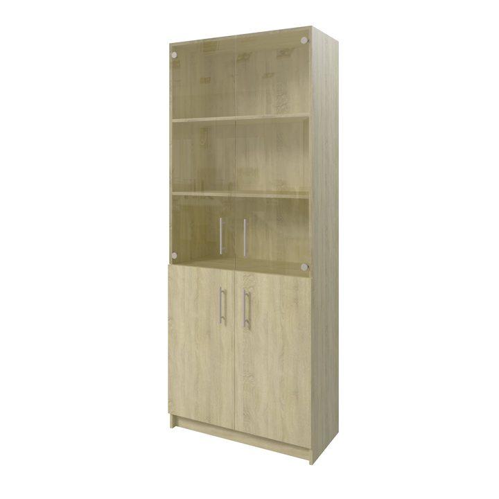 Толга Шкаф распашной комбинация шириной 800мм для хранения с дверками, ЛДСП дуб сонома, стекло