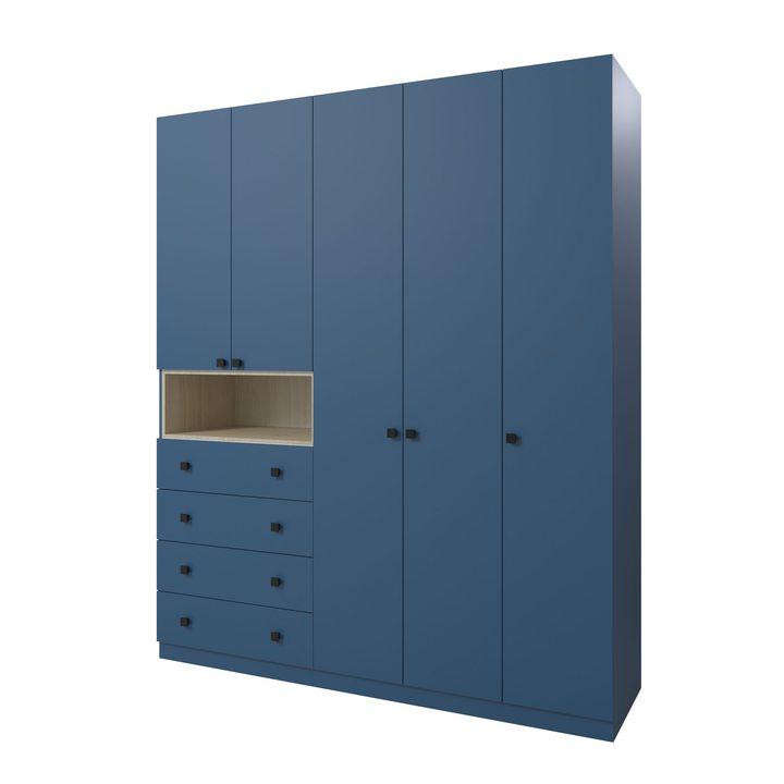 Вайгель Шкаф распашной с 4 ящиками, ЛДСП синий матовый
