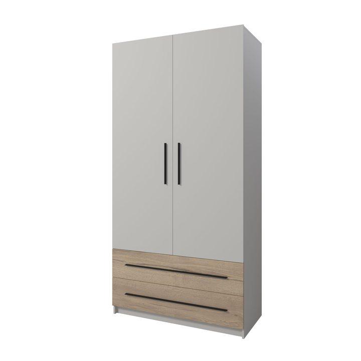 Килей Шкаф распашной с 2 ящиками, ЛДСП серый матовый, дуб галифакс натуральный