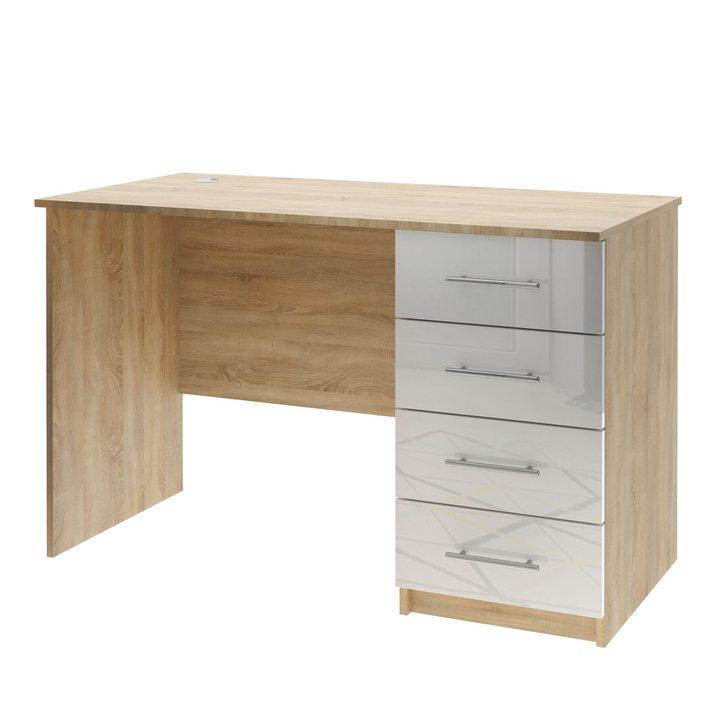 Валске Компьютерный стол с 4 ящиками, МДФ белый глянец