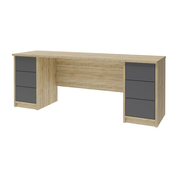 Лув Компьютерный стол с 6 ящиками, SOFT TOUCH серый
