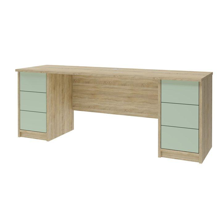 Лув Компьютерный стол с 6 ящиками, SOFT TOUCH оливковый