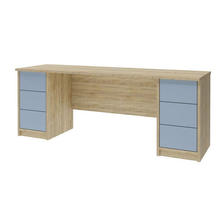 Лув Компьютерный стол с 6 ящиками, SOFT TOUCH голубой