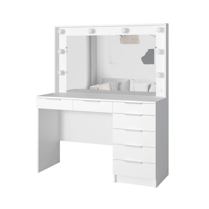 Валске Туалетный столик с гримерным зеркалом и 7 ящиками, ЛДСП белый