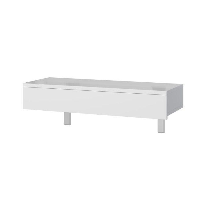 Аво Туалетный столик подвесной с 1 ящиком, белое стекло, ЛДСП белый